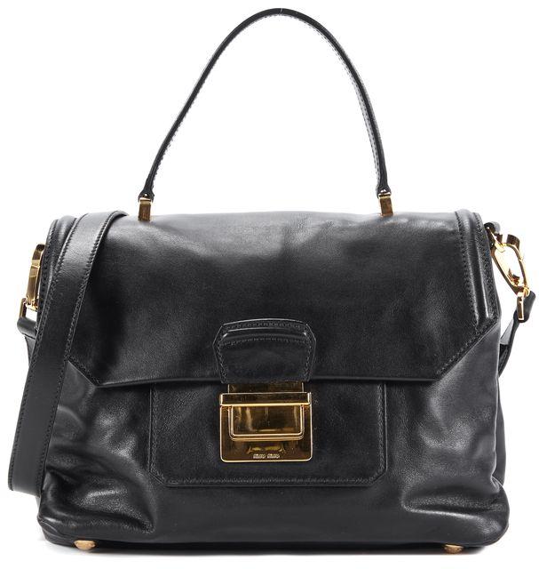 MIU MIU Black Leather Gold Hardware Satchel Bag