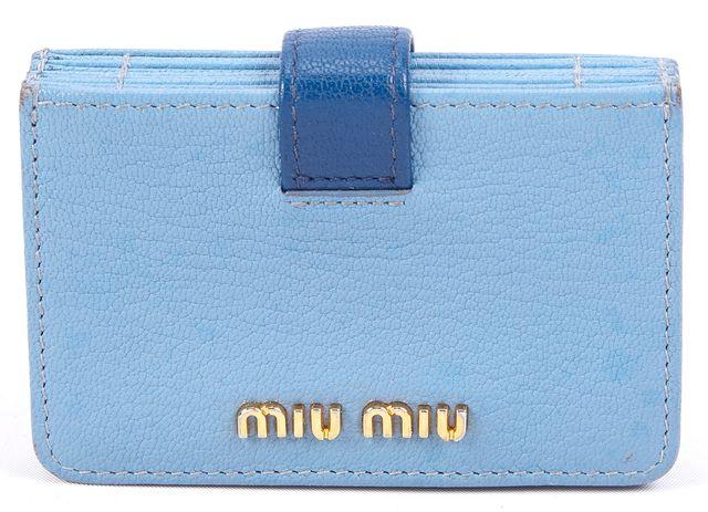 MIU MIU Blue Leather ID Holder Card Case