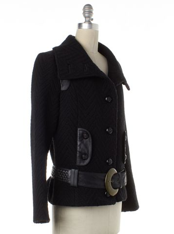 MACKAGE Black Wool Woven Leather Trim Jacket With Belt Size M