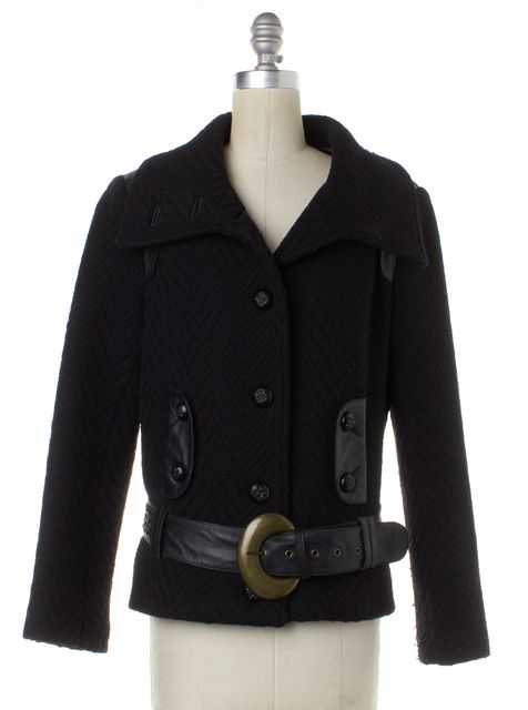 MACKAGE Black Wool Woven Leather Trim Jacket With Belt