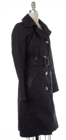 MACKAGE Black Button Down Belted Cotton Trench Coat