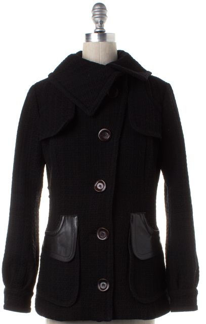 MACKAGE Black Wool Leather Panel Button Down Coat