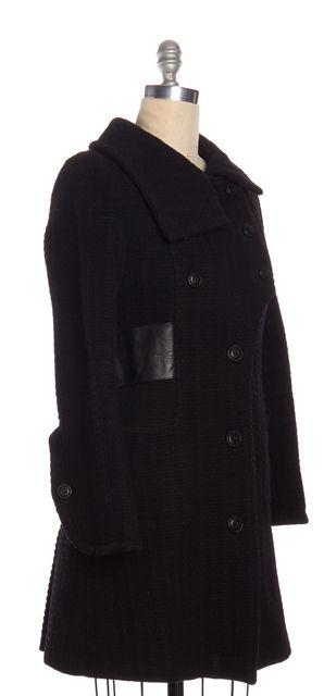 MACKAGE Black Wool Leather Trim Long Peacoat