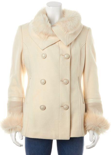 MACKAGE Ivory Wool Basic Double Breasted Fur Trim Jacket Coat