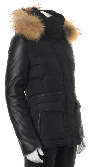 MACKAGE Black Leather Trim Hooded Raccoon Fur Puffer Coat