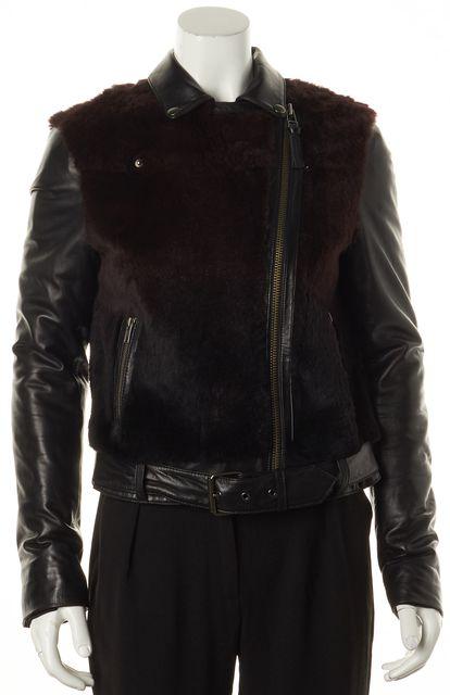 MACKAGE Black Burgundy Leather Rabbit Fur Trim Motorcycle Jacket