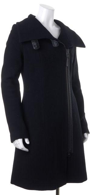 MACKAGE Black Felted Wool Leather Trim Long Winter Coat
