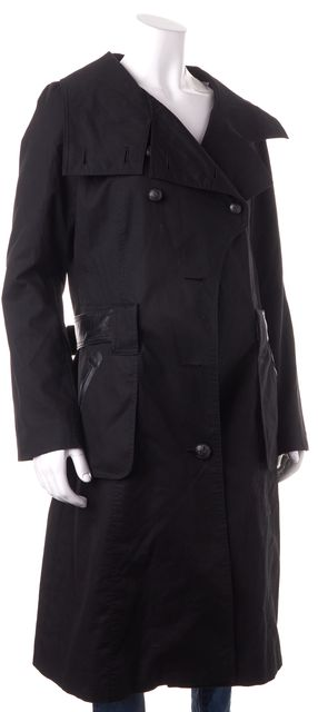 MACKAGE Black Leather Trim Belted Double Breasted Basic Coat