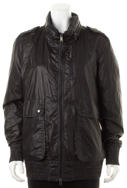 MACKAGE Black Windbreaker Zip Up Hooded Jacket