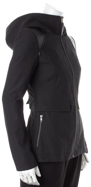 MACKAGE Black Cotton Canvas Leather Trim Hooded Jacket
