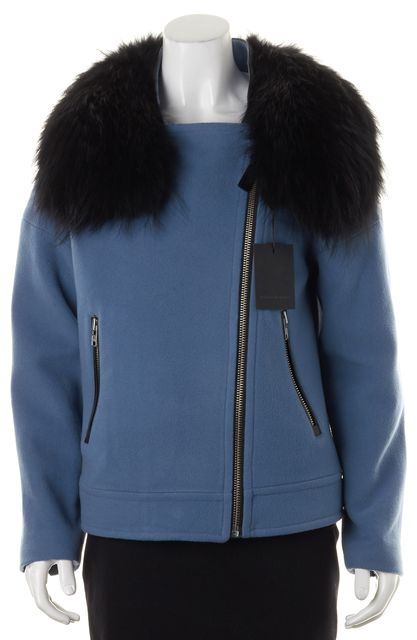 MACKAGE Blue Double Faced Wool Detachable Fur Collar Felipa Moto Jacket