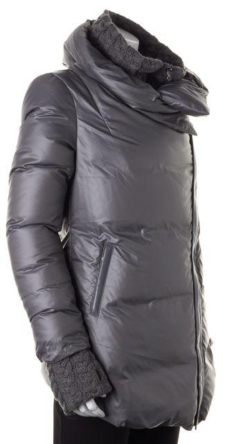 MACKAGE Mist Gray Leather Trim Carmen Puffer Coat