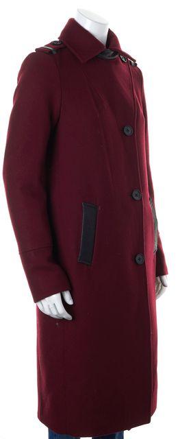 MACKAGE Burgundy Red Wool Leather Trim Basic Coat