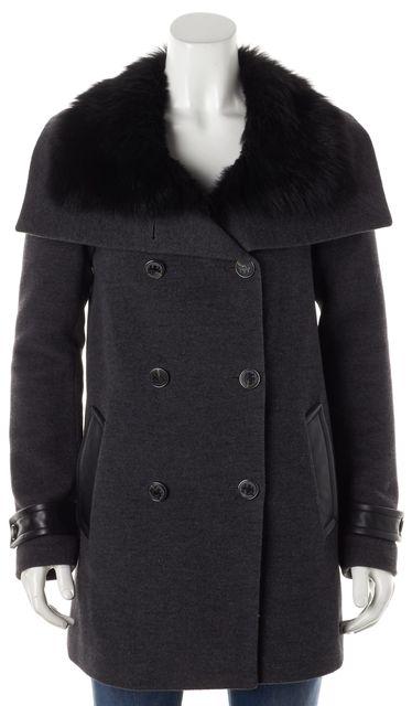 MACKAGE Black Wool Fur & Leather Trim Double Breasted Winter Coat