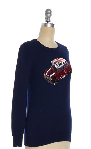 MARKUS LUPFER Navy Blue Wool Knit Sequin Car Graphic Crewneck Sweater