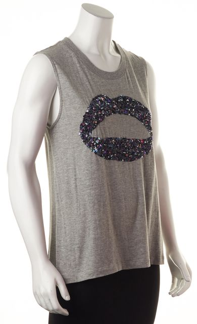 MARKUS LUPFER Gray Sequined Embellished Lips Sleeveless Graphic Tee Top
