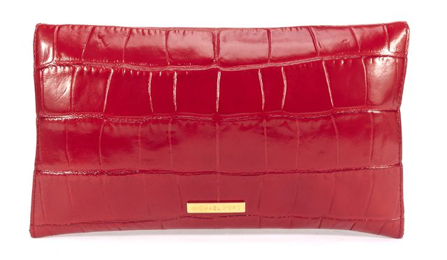 MICHAEL KORS Red Croc Embossed Leather Envelope Clutch