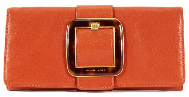 MICHAEL KORS COLLECTION MICHAEL KORS Orange Leather Tortoise Buckle Detail Long Clutch