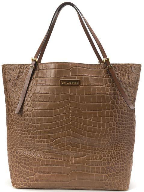 MICHAEL KORS Brown Croc Embossed Leather Gold Tone Hardware Tote Bag
