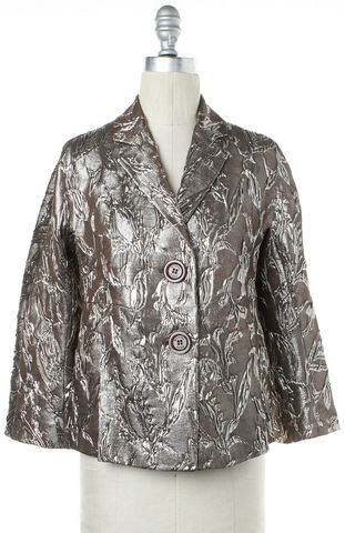 MICHAEL KORS Long Sleeve Silver Metallic Abstract Pattern Silk Blazer Size 6