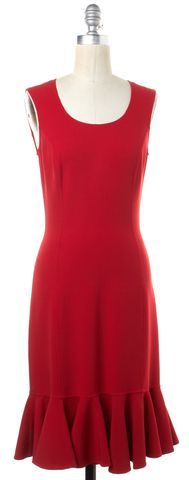 MICHAEL KORS COLLECTION MICHAEL KORS Red Wool Sleeveless Ruffled Hem Sheath Dress