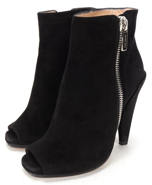 MICHAEL KORS Black Suede Open-toe Mule Silver Zipper Ankle Booties