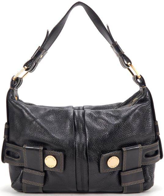 MICHAEL KORS Black Pebbled Leather Shoulder Bag