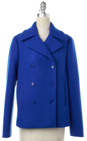 MICHAEL KORS Cobalt Blue Wool Basic Coat