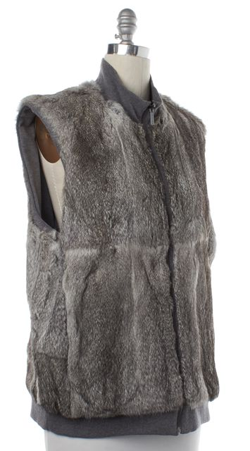 MICHAEL KORS COLLECTION MICHAEL KORS Gray Reversible Rabbit Fur Vest