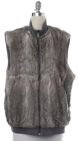 MICHAEL KORS Gray Reversible Rabbit Fur Vest