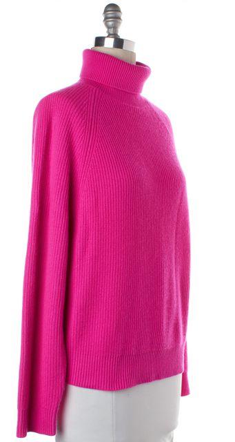 MICHAEL KORS Neon Pink Cashmere Chunky Knit Turtleneck Sweater