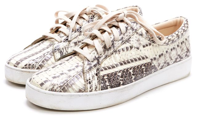 MICHAEL KORS COLLECTION MICHAEL KORS Ivory Gray Snakeskin Embossed Leather Lace Up Sneaker