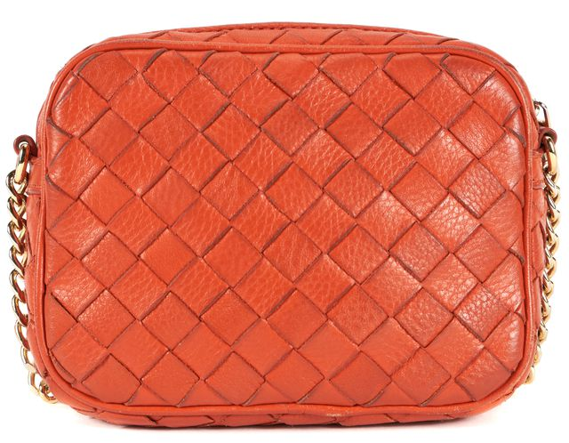 MICHAEL KORS COLLECTION MICHAEL KORS Orange Woven Leather Gold Hardware Small Crossbody Bag
