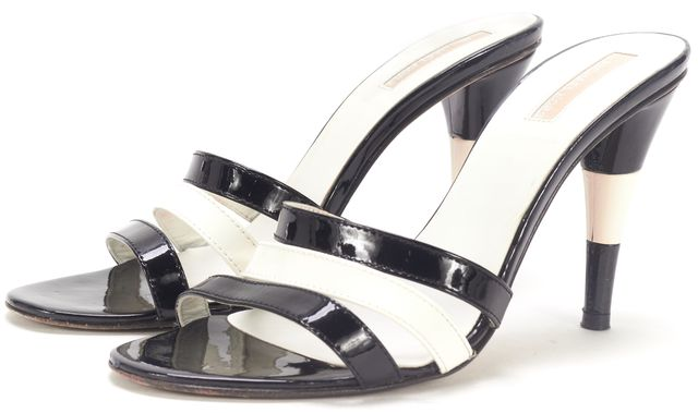 MICHAEL KORS COLLECTION Black White Patent Leather Multi Strap Sandal Heels