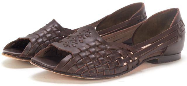 MICHAEL KORS COLLECTION Brown Leather Cage Woven Open Toe Flats Sandal