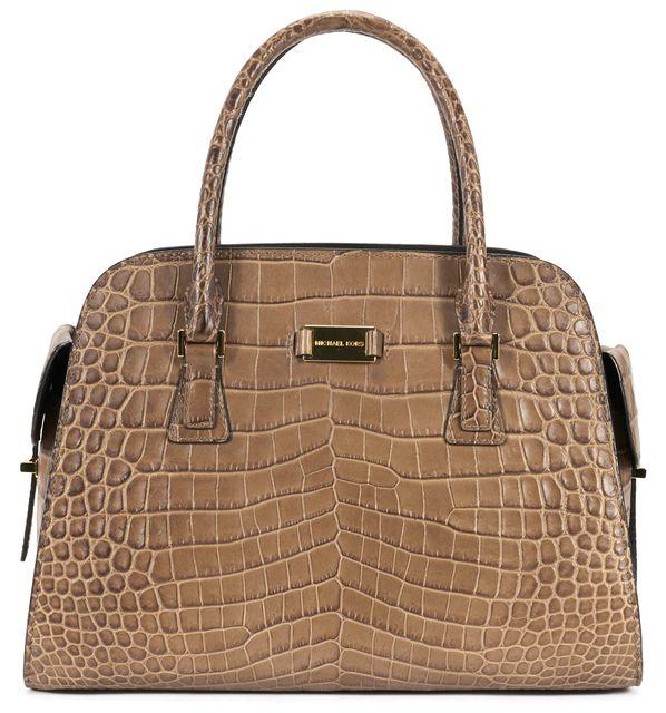 MICHAEL KORS COLLECTION Brown Crocodile Embossed Leather Top Handle Shoulder Bag