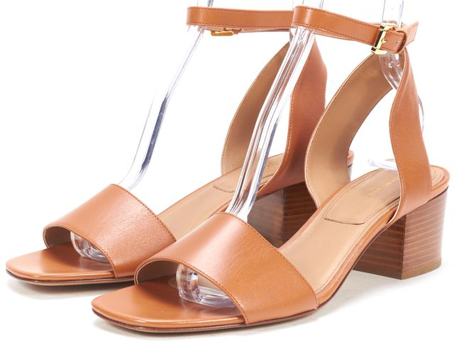 MICHAEL KORS COLLECTION Tan Brown Leather Ankle Strap Sandals