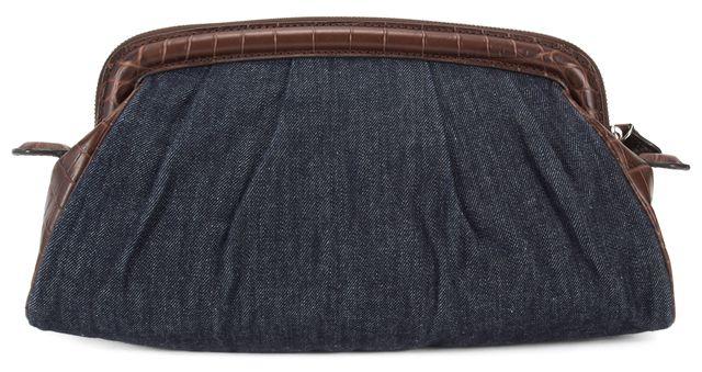 MICHAEL KORS COLLECTION Blue Denim Croc Embossed Brown Leather Zip Clutch