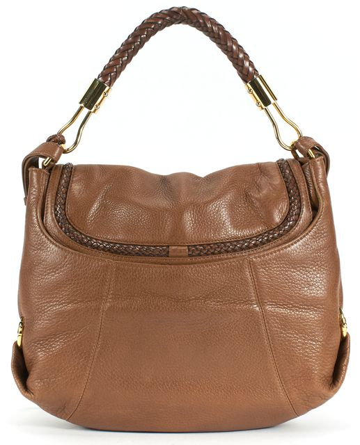 MICHAEL KORS COLLECTION Brown Leather Gold Hardware Flap Satchel Shoulder Bag