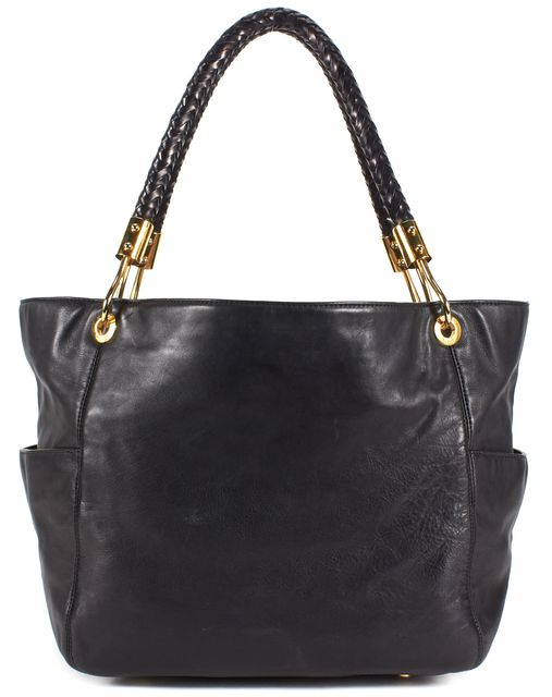 MICHAEL KORS COLLECTION Black Leather Braided Strap Gold Hardware Tote