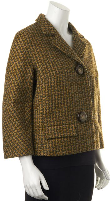 MICHAEL KORS COLLECTION Yellow Army Green Tweed Wool Basic Cropped Jacket