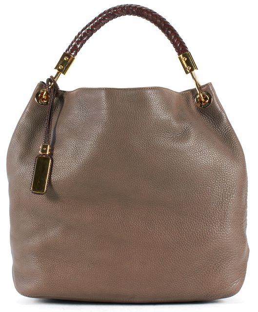 MICHAEL KORS COLLECTION Brown Pebbled Leather Woven Handle Shoulder Bag