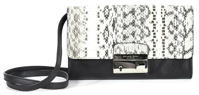 MICHAEL KORS COLLECTION Gray Black Crocodile Embossed Leather Crossbody Bag