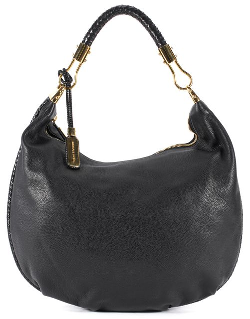 MICHAEL KORS COLLECTION Black Pebbled Skorpios Top Handle Shoulder Hobo Bag