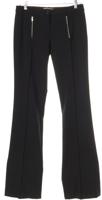 MICHAEL KORS COLLECTION Black Wool Zipper Pocket Dress Pants