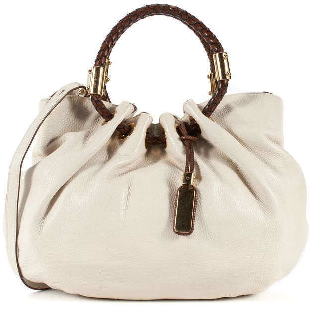 MICHAEL KORS COLLECTION Ivory Pebbled Leather Woven Handle Satchel Bag