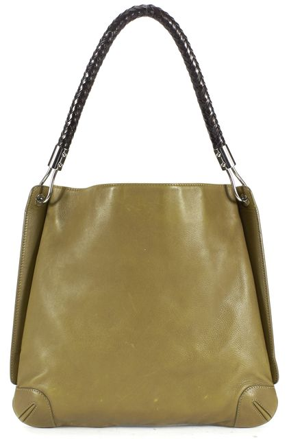 MICHAEL KORS COLLECTION Olive Green Brown Braided Handle Tote Shoulder Bag