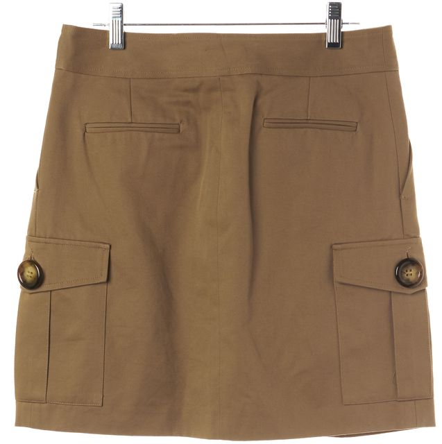 MICHAEL KORS COLLECTION Brown Pleated Button Front Straight Skirt