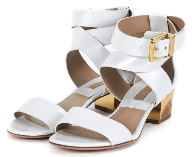 MICHAEL KORS COLLECTION White Leather Tulia Low City Sandals