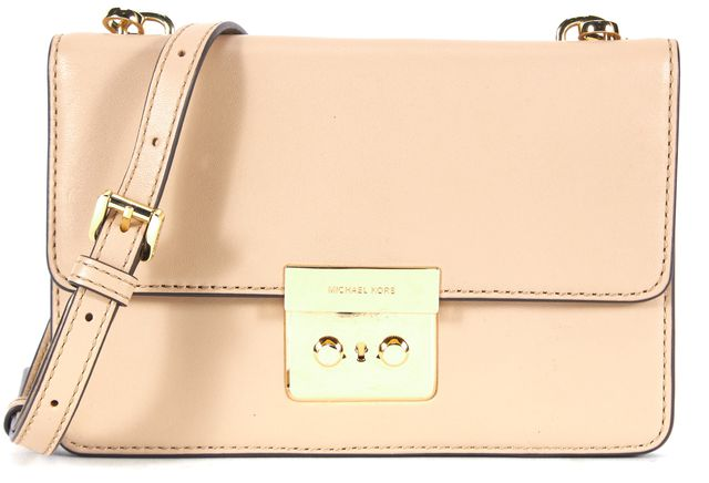 MICHAEL KORS COLLECTION Beige Leather Gold Lock Small Crossbody Bag